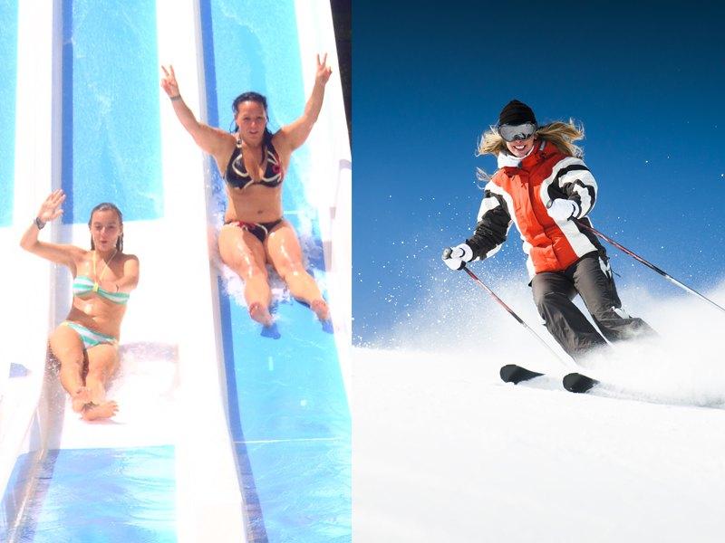 Adolescents à Aquamotion et faisant du ski à Courchevel