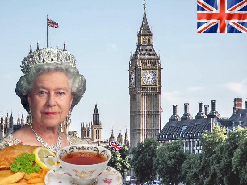 Reine d'angleterre, tasse de thé et monuments typiques de Londres