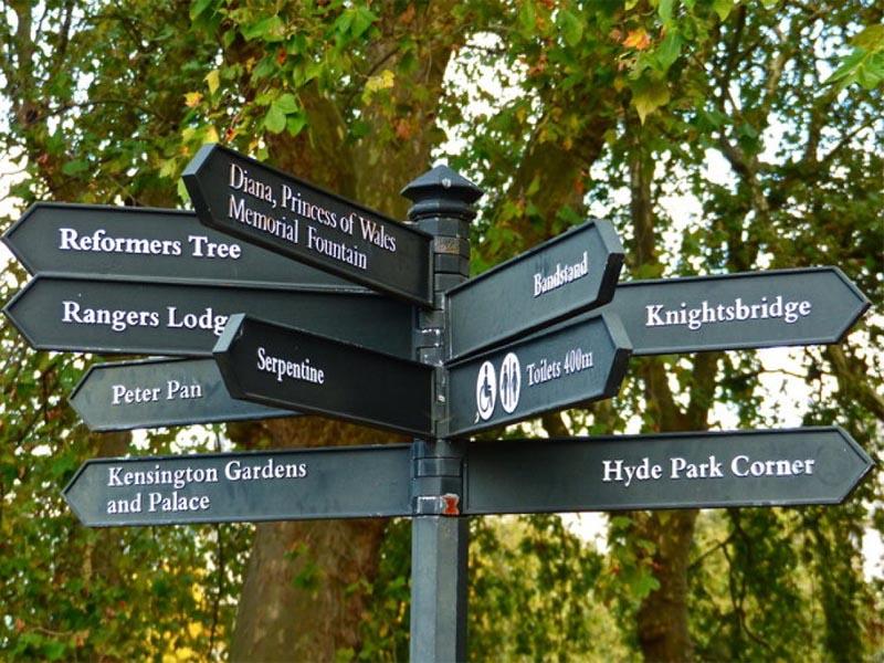 Panneau de signalisation des monuments à Londres