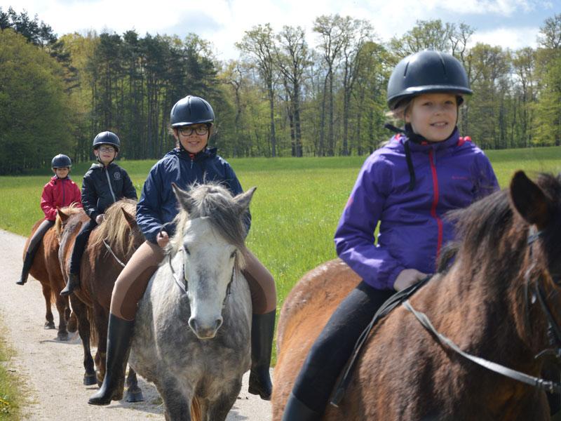 groupe d'enfants en randonnée à cheval en colonie de vacances pour apprendre l'anglais en France