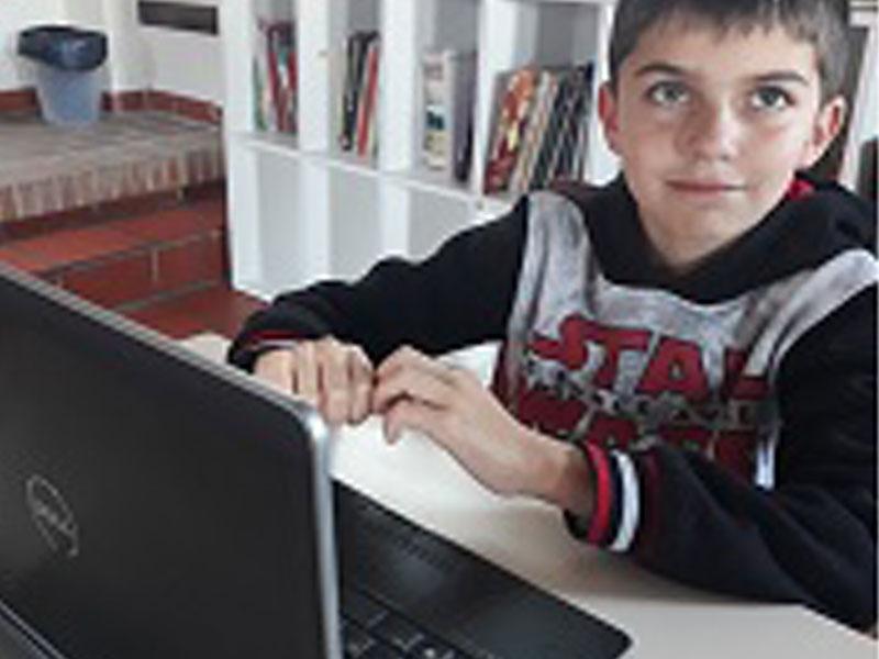 Jeune garçon en colo sur un ordinateur au printemps