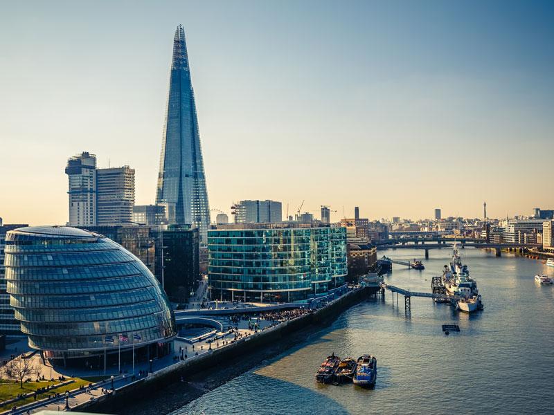 Vue sur la City à Londres en colonie de vacances pour ados