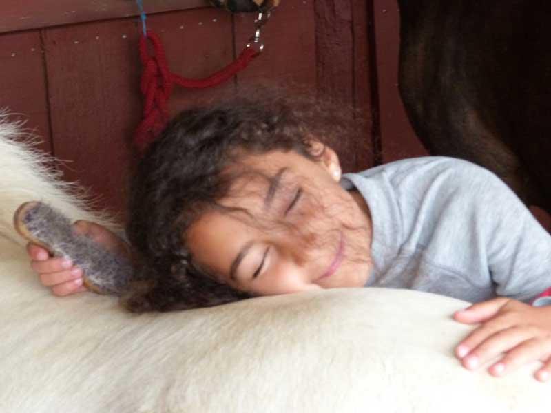 jeune fille apprenant à prendre soin du cheval en colonie de vacances équitation printemps