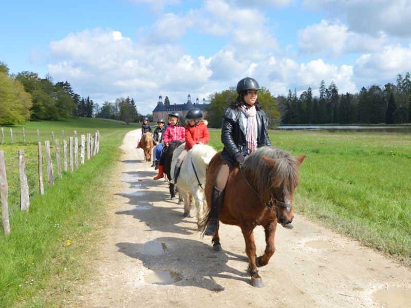 groupe d'enfants apprenant à faire du poney en colonie de vacances