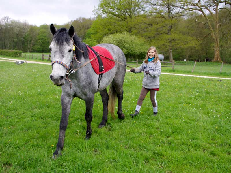Jeune fille avec son cheval en colonie de vacances ce printemps