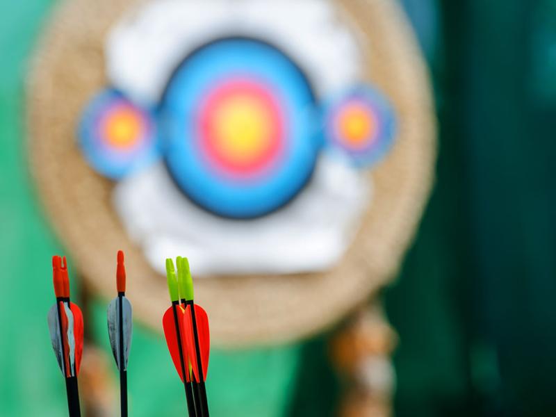 Cible de tir à l'arc et fléchettes