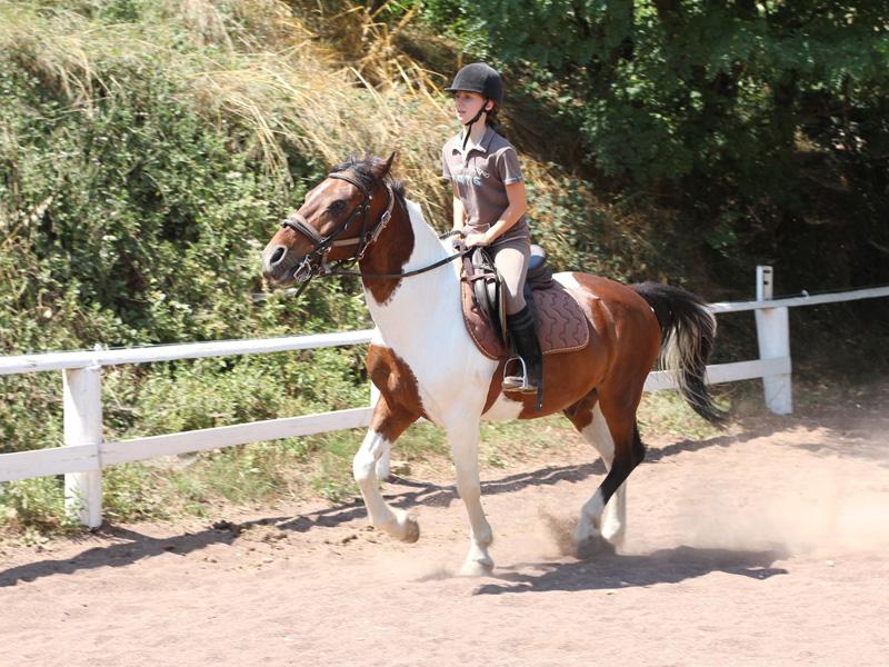 Jeune fille en balade à cheval en colo