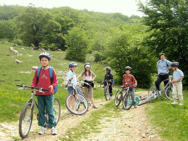 Groupe d'enfants en randonnée à vélo