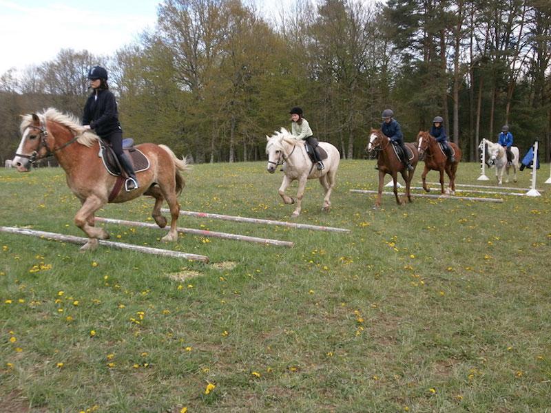 Parcours d'obstacles à cheval en colonie de vacances toussaint