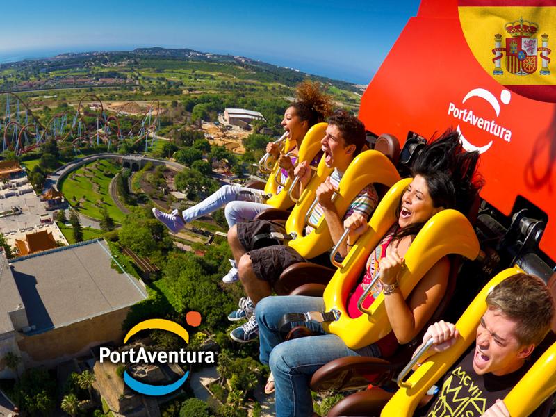 Ados sur un manège à sensations en colonie de vacances à Portaventura cet automne