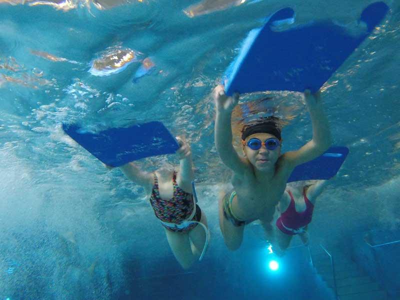 Enfants en colonie de vacances pour apprendre à nager à la toussaint