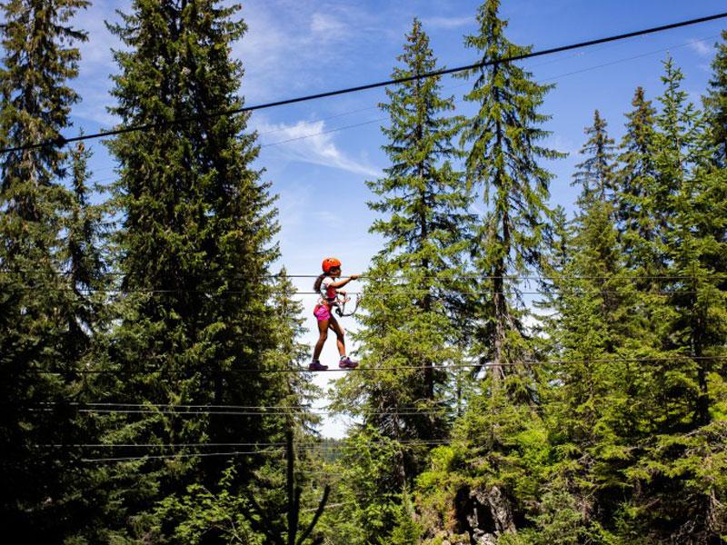 adolescente faisant de l'accrobranche en colonie de vacances à la montagne