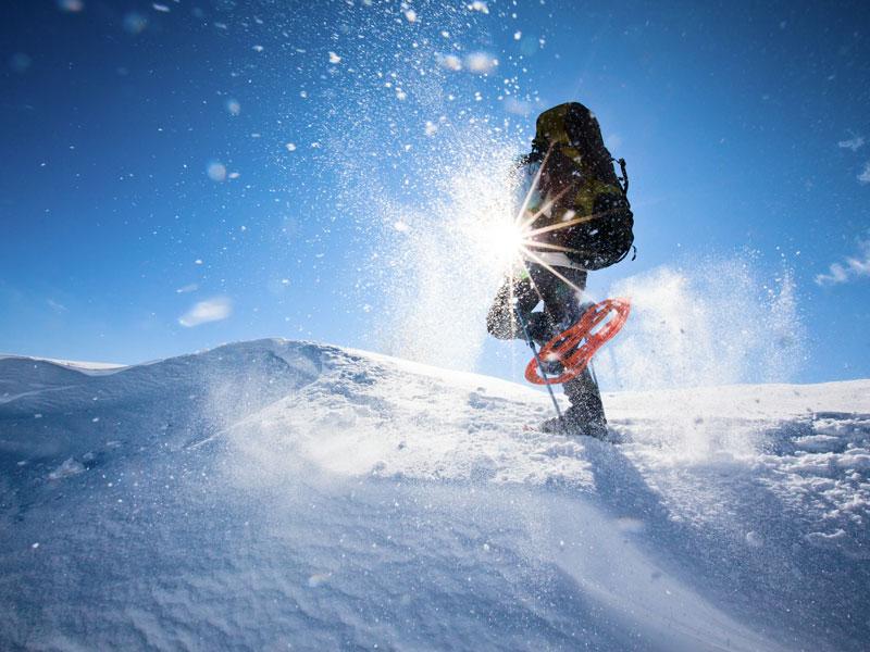enfant en balade en raquette à neige cet hiver en colonie de vacances à la montagne