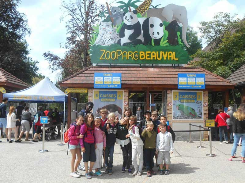 groupe d'enfants posant devant le zoo parc de beauval durant une colo cet automne