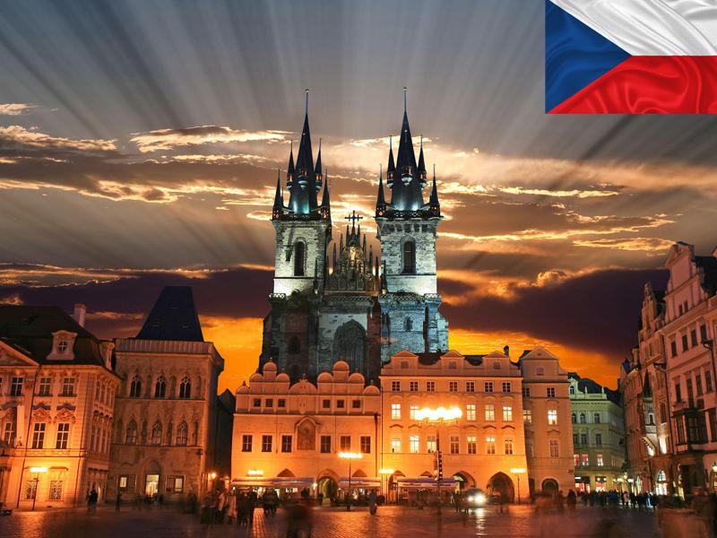 Prague vu de nuit en colonie de vacances cet automne