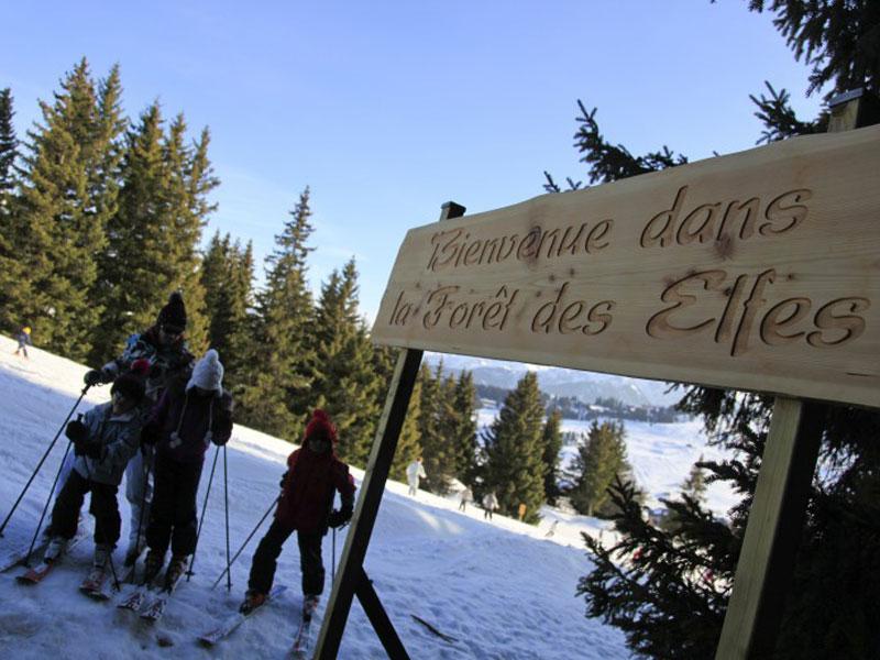 Enfants faisant du ski en forêt sécurisée en colonie de vacances cet hiver