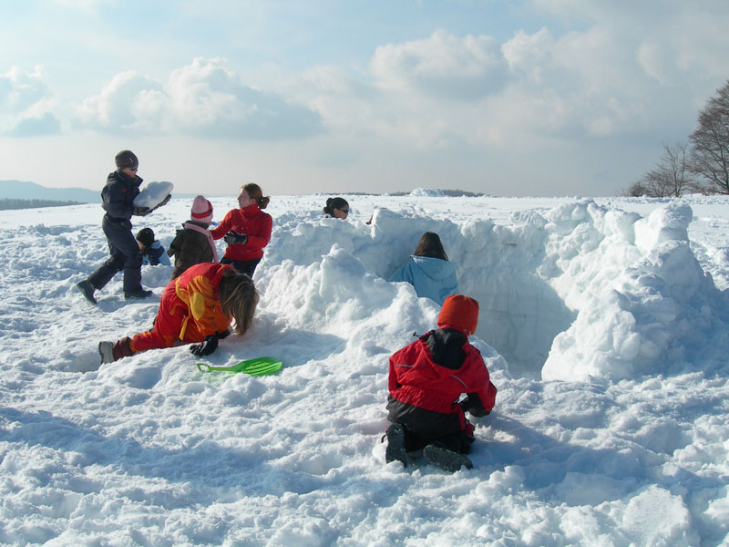 enfants apprenant à faire un igloo en colonie de vacances à la neige