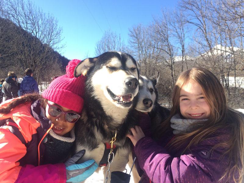 Portrait de fillettes avec les chiens de traineaux en colo