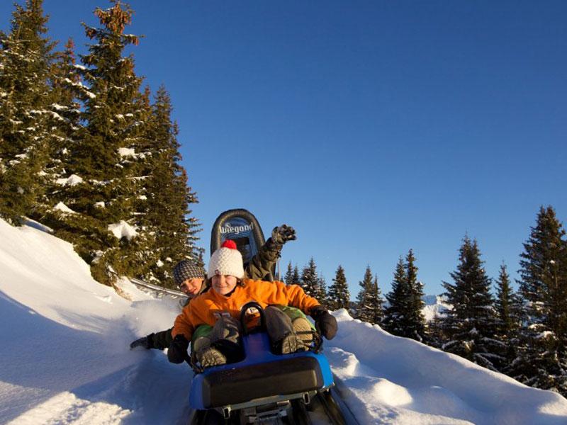 enfants faisant de la luge mountain twister à la montagne cet hiver