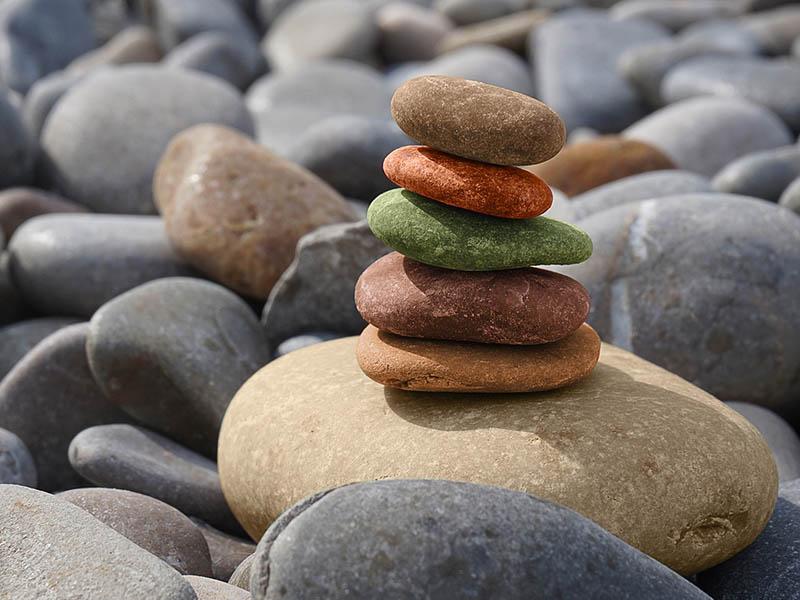 pierres zen en colonie de vacances yoga