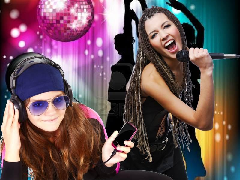 Jeunes filles en train de chanter