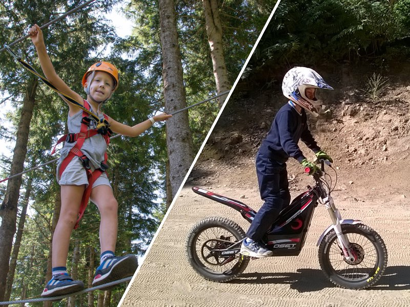 Duo de photos avec un enfant qui fait de l'accrobranche et un enfant qui fait de la moto