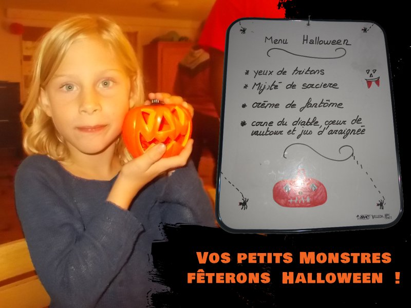 Enfant avec une citrouille pour Halloween en colo