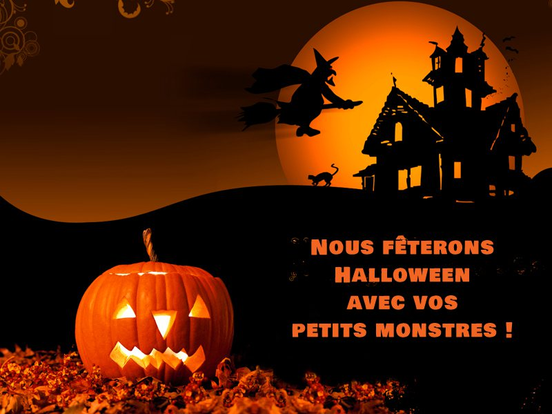 Paysage d'Halloween en colonie de vacances