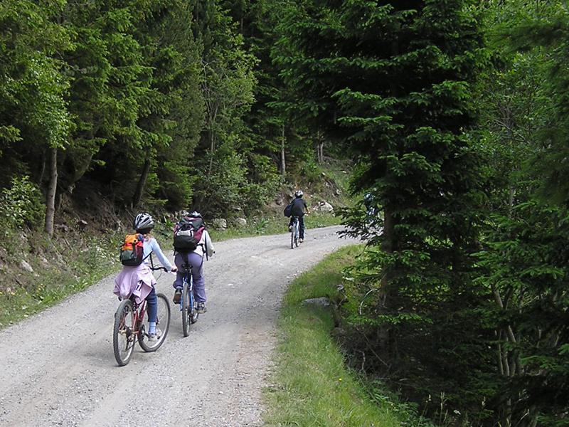 Enfants en randonnée à vélo en colonie de vacances