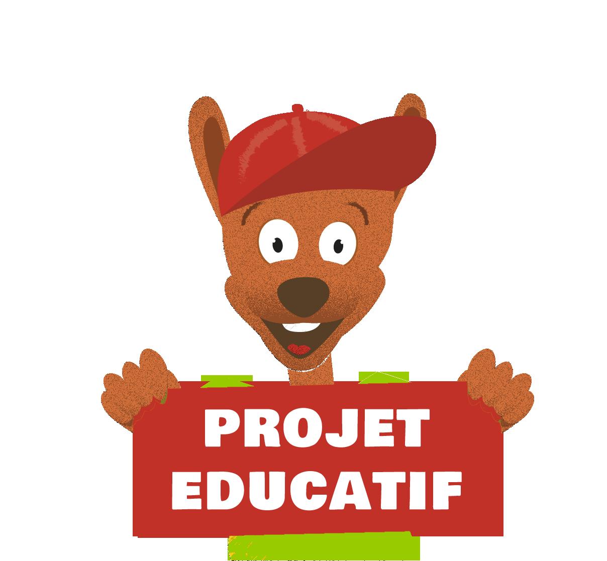 Mascotte Djuringa Scolaires tenant une pancarte projet éducatif séjours scolaires