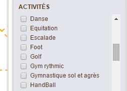 filtre activités