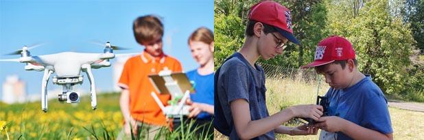 Enfants et adolescents apprenant à piloter un drone en colo