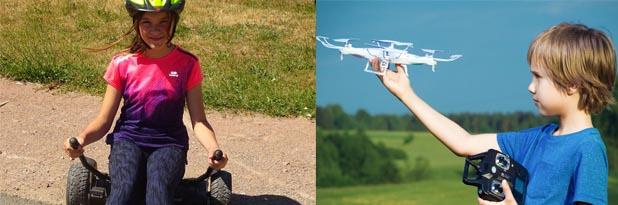 Enfants apprenant à faire de l'hoverkart et à piloter un drone en colo
