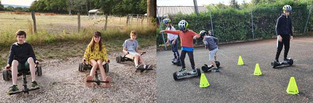 Enfants et adolescents apprenant à piloter un hoverboard