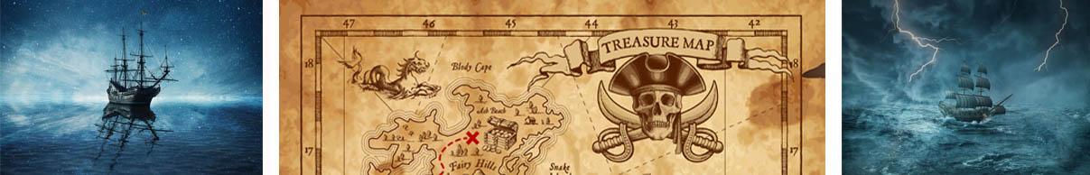 Bateaux de pirate et carte aux trésors