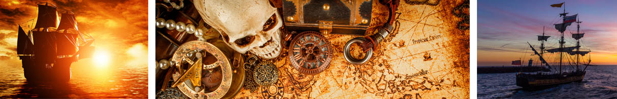 Bateau de pirates et trésor