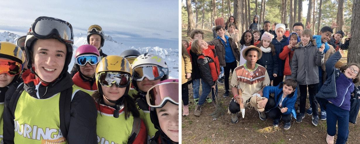 Enfants en colonie de vacances à la neige en février