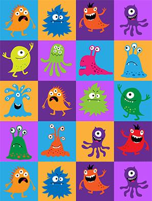 Petits monstres colorés et amusants représentant le coronavirus pour les enfants