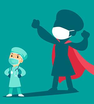 Illustration d'un médecin superhéro
