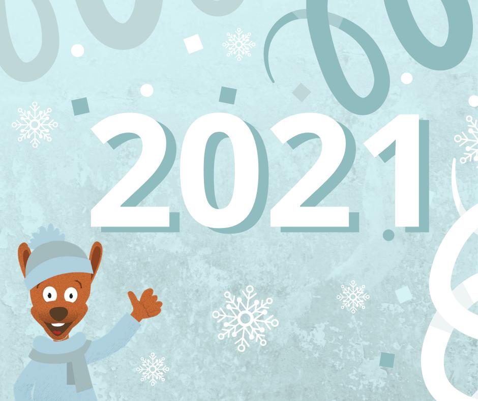 Mascotte Djuringa Juniors souhaitant la bonne année 2021