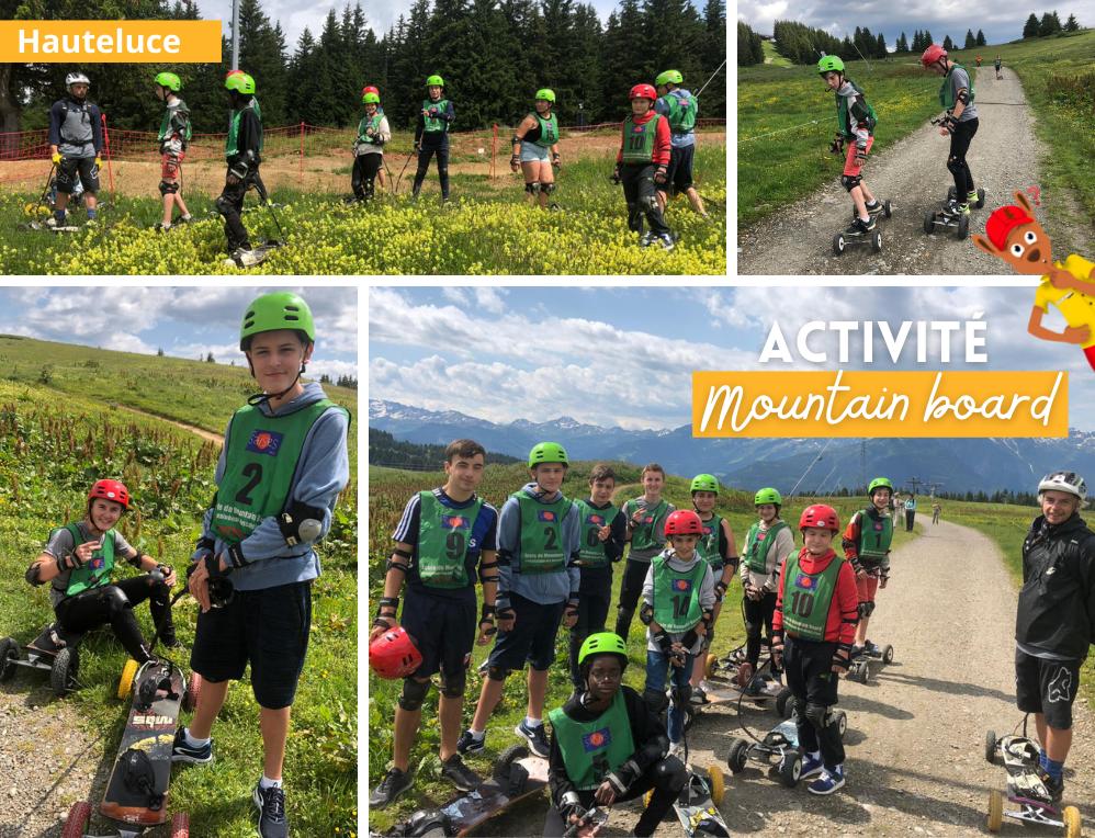 Photos de l'activité mountain board en colo cet été à Hauteluce