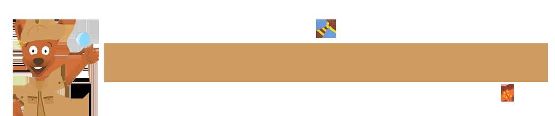 Visuel avec mascotte Djuringa explorateur et insectes
