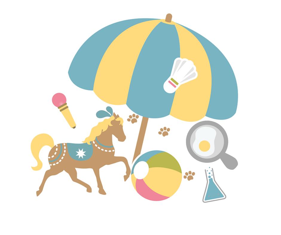 Plusieurs dessins représentant les activités préférées des enfants pour leur colo