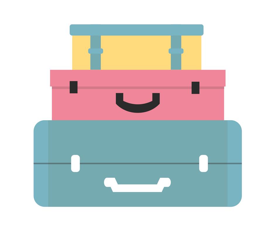 Pile de valises colorées pour partir en colo