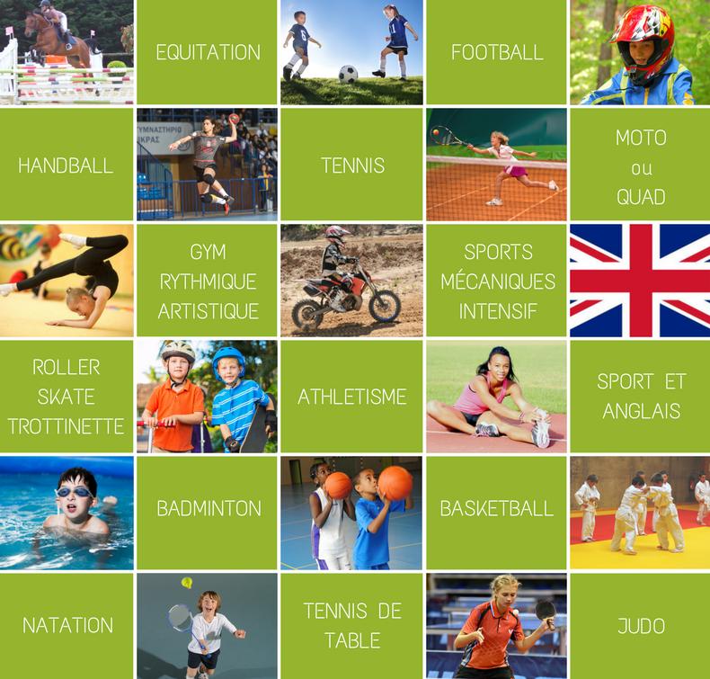 Mosaique des différents sports proposés par Djuringa dans le cadre des stages sportifs Sports Academy