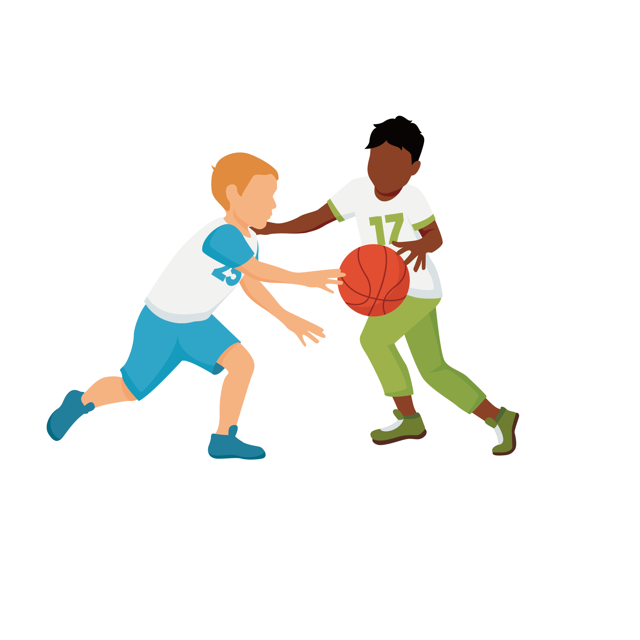 Enfants jouant au football ensemble