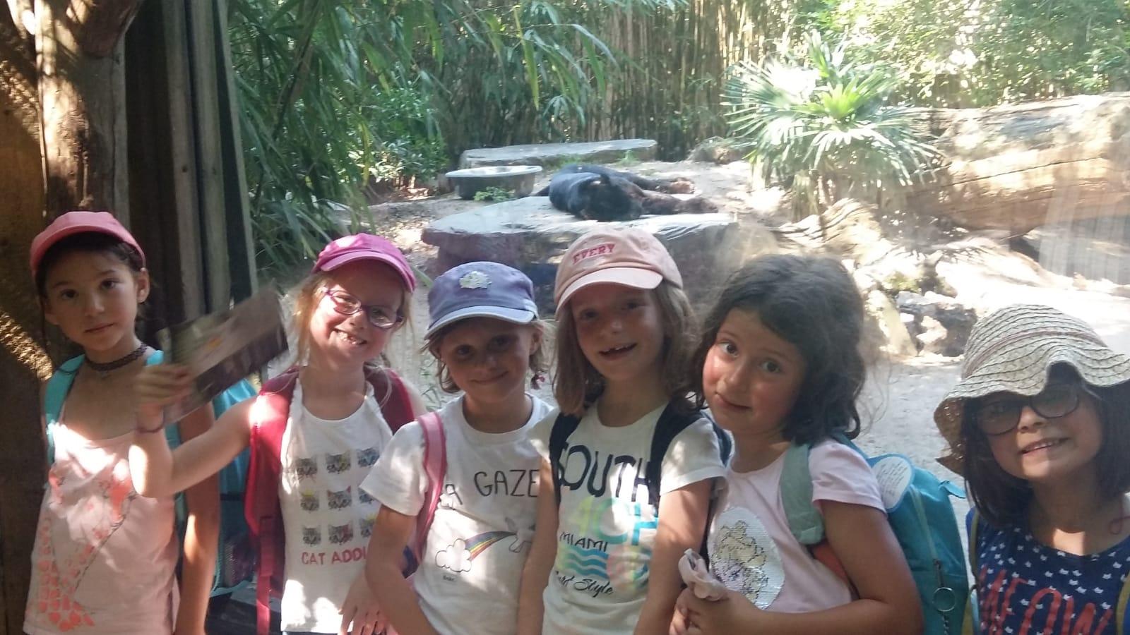Groupe d'enfants au zoo