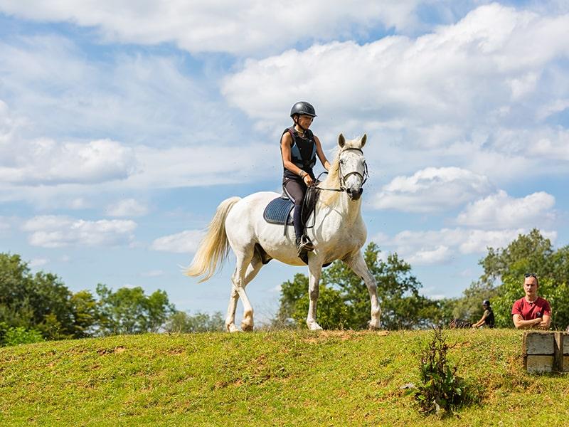 Vue sur un cavalier en colo de vacances au centre équestre du domaine de l'Espérance